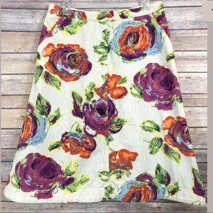 J. Jill A-Line Floral Skirt 100% Cotton Size 10